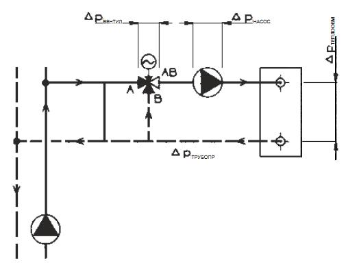 Схема установки трехходового